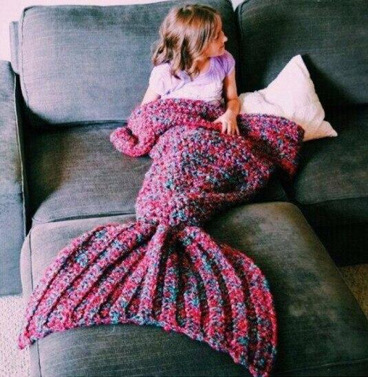 Knitting Patterns For A Child s Mermaid Tail : Aliexpress.com : Buy wool knitted Mermaid Tail blanket Handmade children merm...