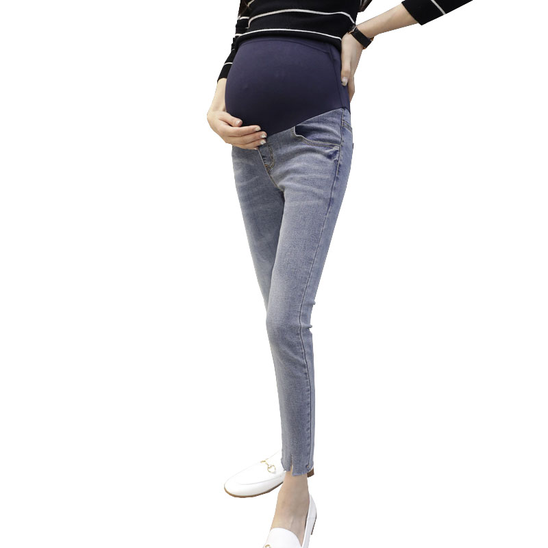 Ninth Pencil Pants Maternity Clothes For Pregnant Women Denim Jeans Pregnancy Trousers Prop Belly Strench Nursing Clothing