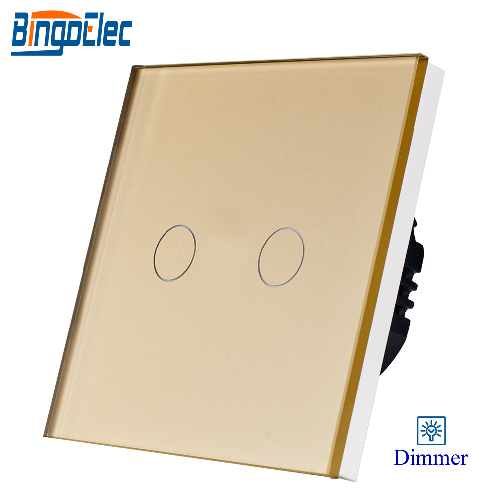 2gang 1way 700W touch dimmer switch,golden crystal toughened glass panel dimmer switch EU/UK standard AC110-240V 2gang 2way white crystal toughened glass panel touch switch sensor light switch