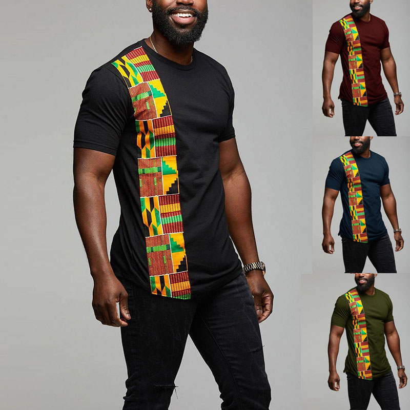 African Kente T Shirt Patchwork Color Print Top Wear Mens Ankara Style Panel Tees O Neck Kitenge For Men Short Sleeves Black