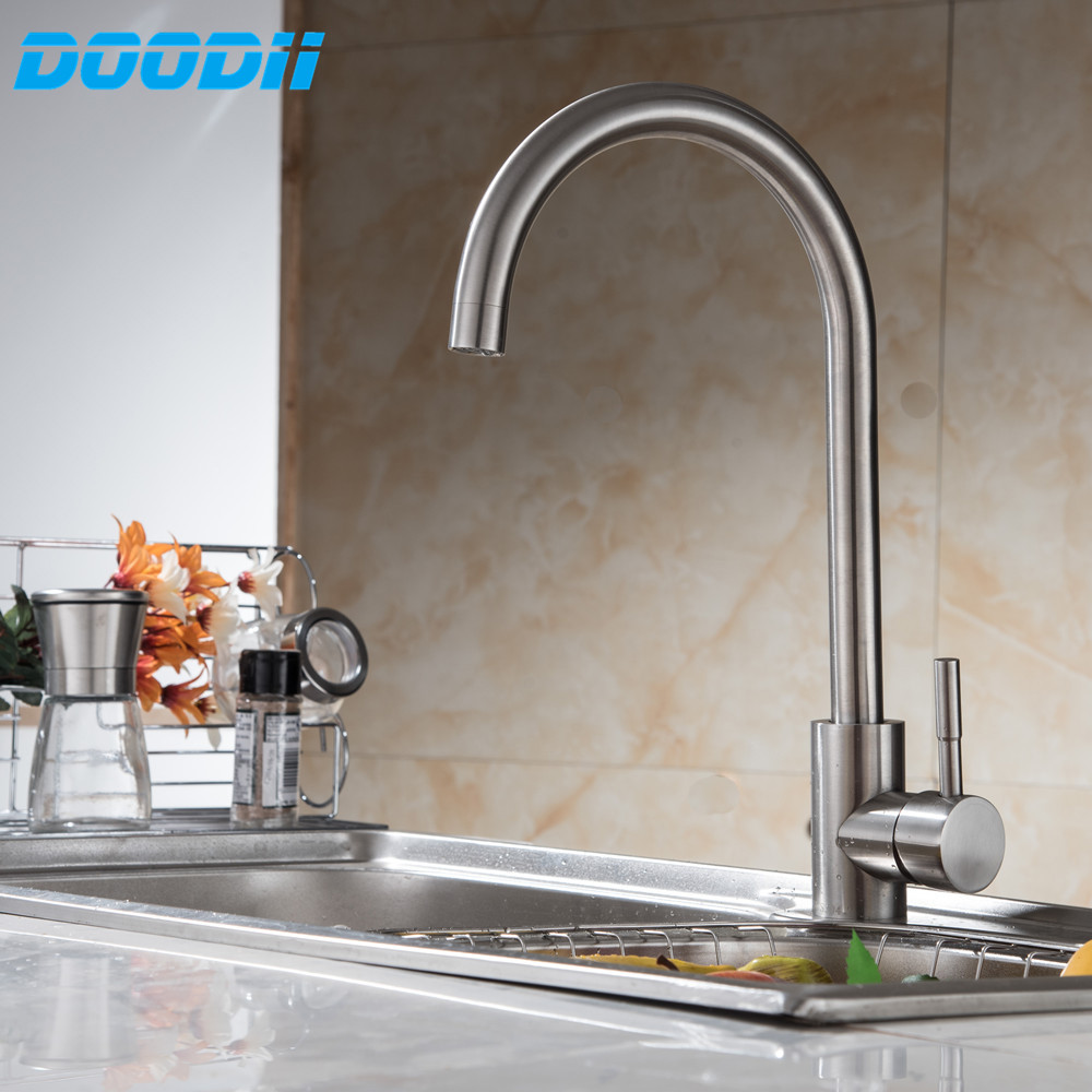 304 Stainless Steel No Lead Kitchen Sink Faucet Sink Tap 360 Swivel Mixer Kitchen Bathroom Faucet Doodii