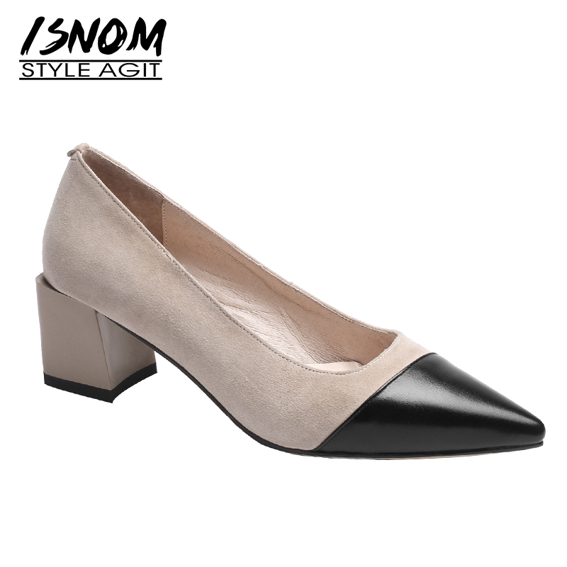 ISNOM Kid Suede Pumps Women Pointed Toe Footwear Leather Office High Heels Shoes Female Shallow Shoes Woman 2019 New SpringISNOM Kid Suede Pumps Women Pointed Toe Footwear Leather Office High Heels Shoes Female Shallow Shoes Woman 2019 New Spring