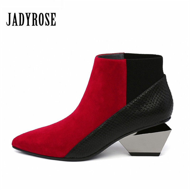 Jady Rose Sexy Red Women Ankle Boots Slip On 6CM Strange High Heel Botas Mujer Pointed Toe Women Pumps Autumn Martin Boot