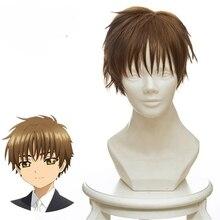 Card Captor Sakura CLEAR CARD LI SYAORAN Cosplay wig 30cm Short Straight Synthetic Hair Wig for Man Boys Costume Party wig Brown