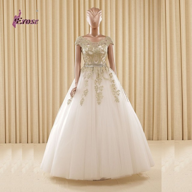 Classic Golden Lace Wedding Dresses With Crystal Cap Sleeve Tulle ...