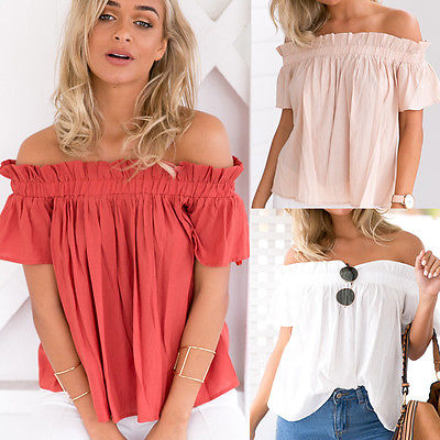 New  Women Off Shoulder Short Sleeve Shirt Casual Loose Top Blouse Red S