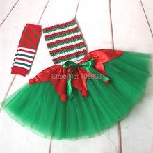 Новинка года дети зеленый с красным Тюль воздушная юбка-пачка комплект одежды для маленьких девочек для новогодней вечеринки одежда