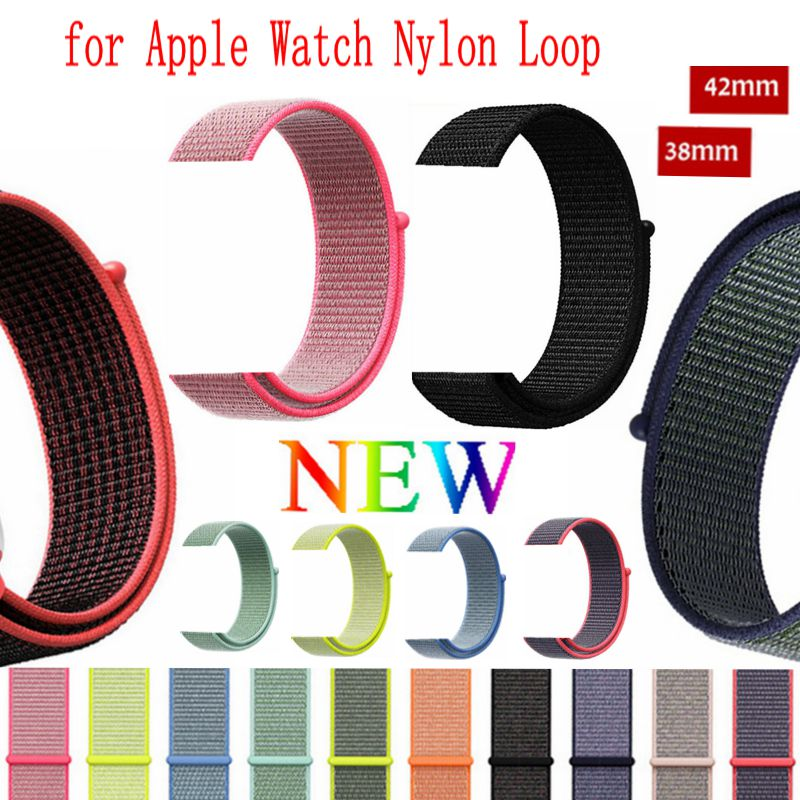 цена на High Quality Nylon Sport Loop Replacment Band for Apple Watch Series 1 2 3 Lightweight Soft Breathable Woven Strap 38mm 42mm