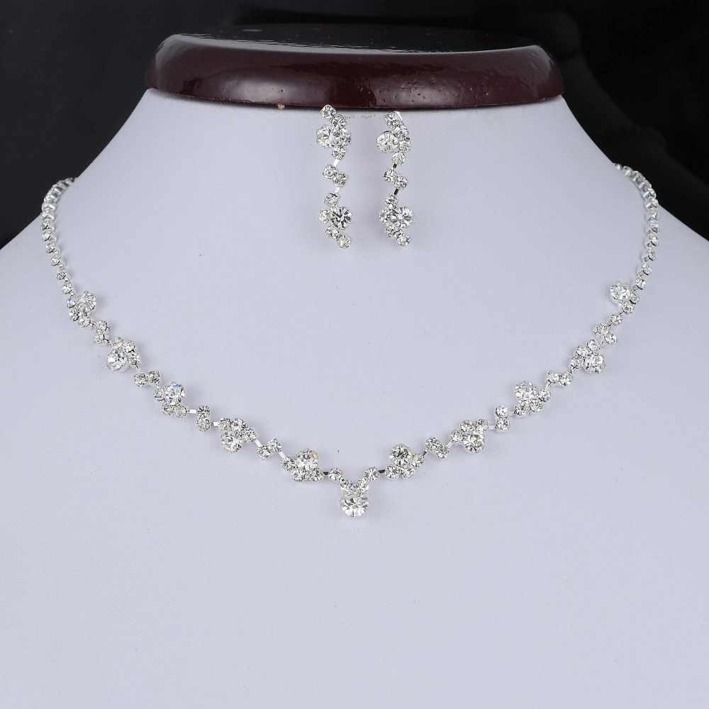 Fashion Silver Tone Crystal Tennis Choker Necklace Set Earrings Factory Price Wedding Bridal Bridesmaid African Jewelry Sets