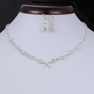 Fashion Silver Tone Crystal Te