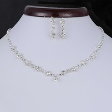 Fashion Silver Color Crystal Tennis Choker Necklace Set Earrings Factory Price Wedding Bridal Bridesmaid African Jewelry Sets