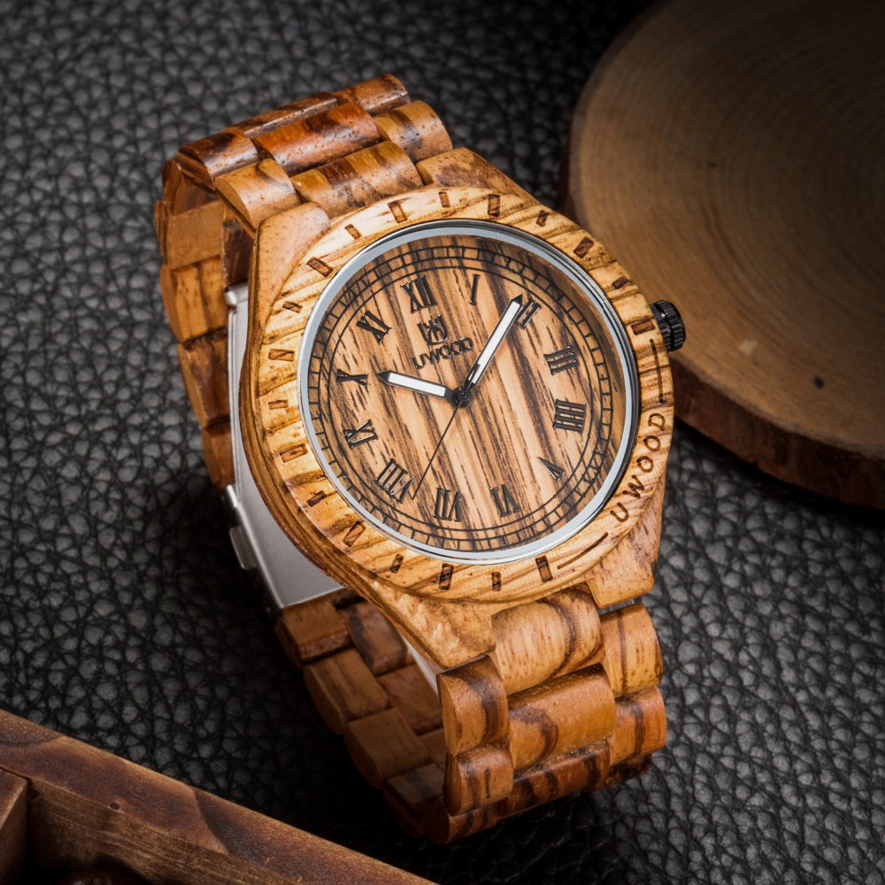 18 Hot Sell Men Dress Watch QUartz UWOOD Mens Wooden Watch Wood Wrist Watches men Natural Calendar Display Bangle Gift Relogio 27
