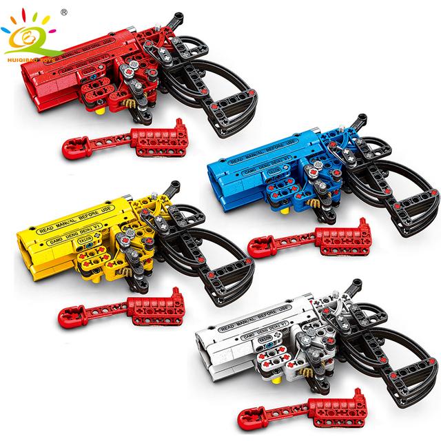 HUIQIBAO 156pcs Military Battleground Signal gun Building Blocks technic Weapon Bricks Educational Toys for Children Boys