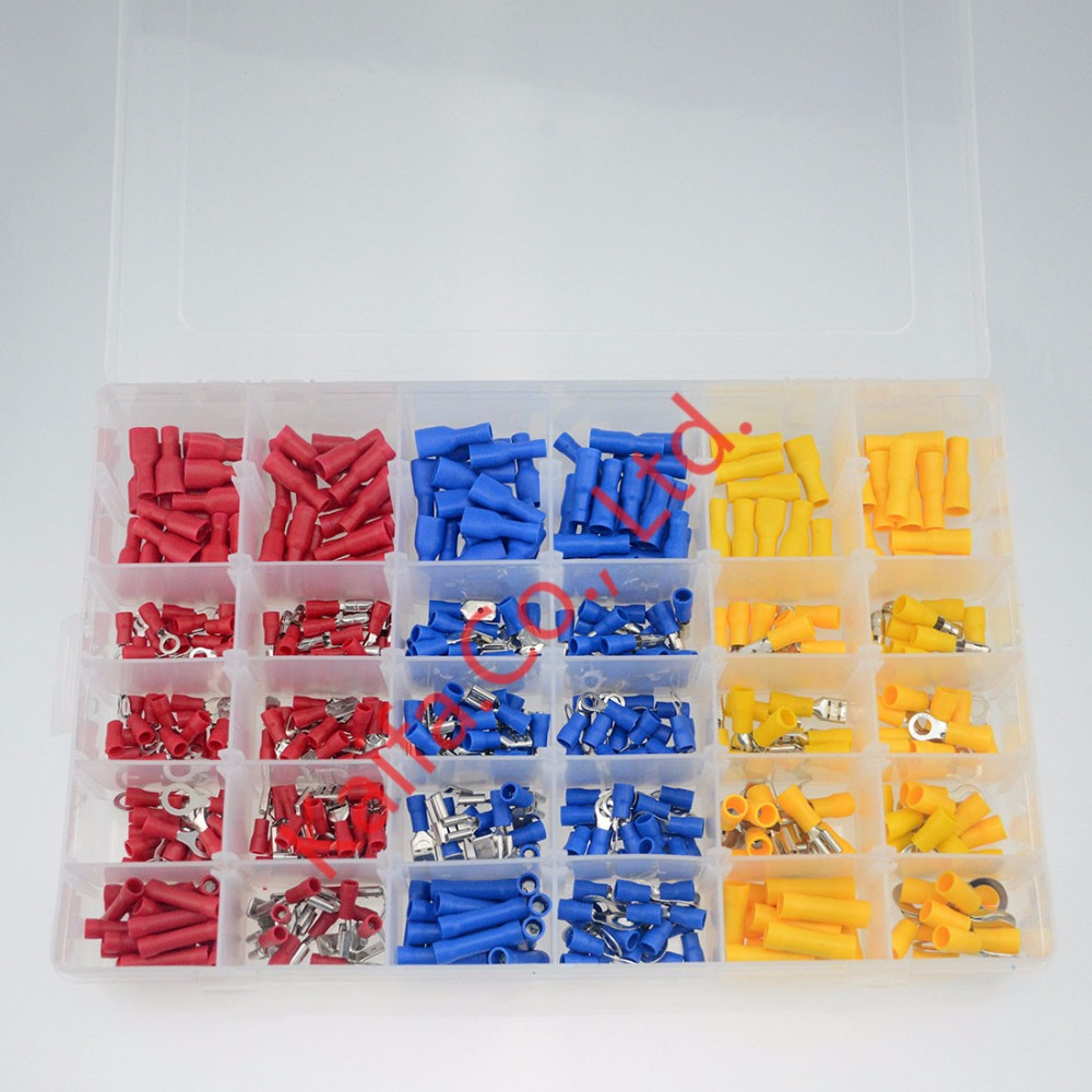 480Pcs/ Box Insulated Terminals Electrical Crimp Connector Tube Wire Connector Assortment Kit Cold Pressing Copper Terminals 200 pcs awg16 14 wire connector tube head uninsulated pin terminals silver tone