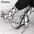 Женские ботинки «Челси» Eilyken  модные ботинки на молнии со змеиным принтом  на высоком каблуке  с острым носком  2020