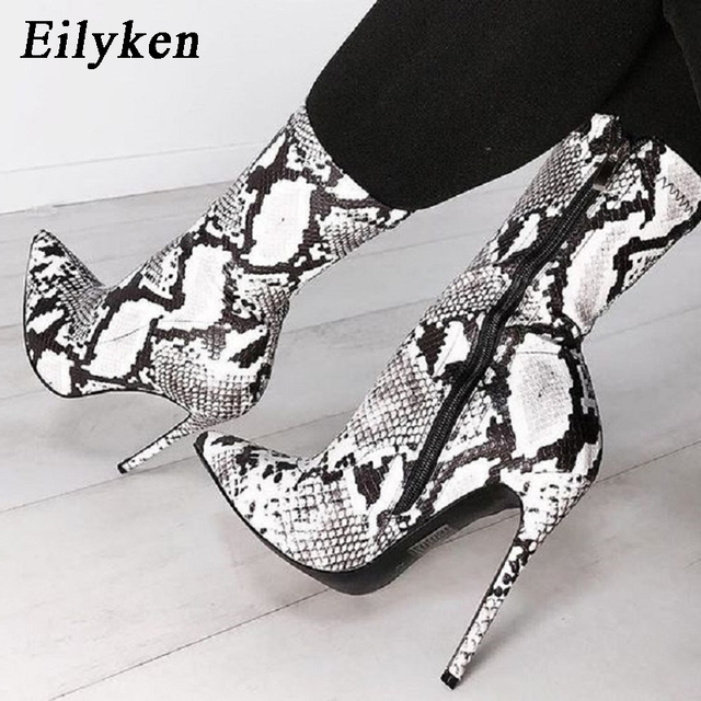 Eilyken Women Zipper Boots Snake Print Ankle Boots High heels Fashion Pointed toe Ladies Sexy shoes 2019 New Chelsea Boots