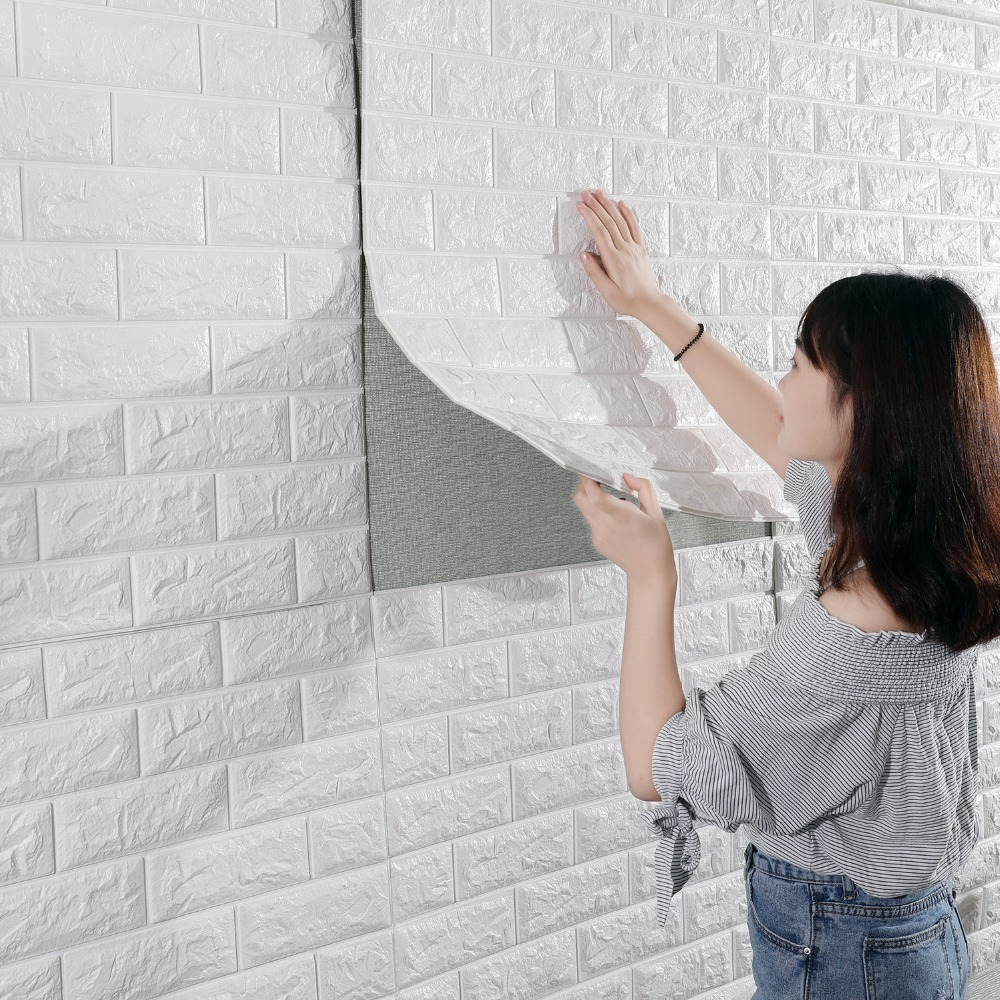 3D Brick Wall Stickers Living Waterproof Foam Room Bedroom DIY Adhesive Wallpaper Art 60*30*0.8 Cm  Home Wall Decals(China)