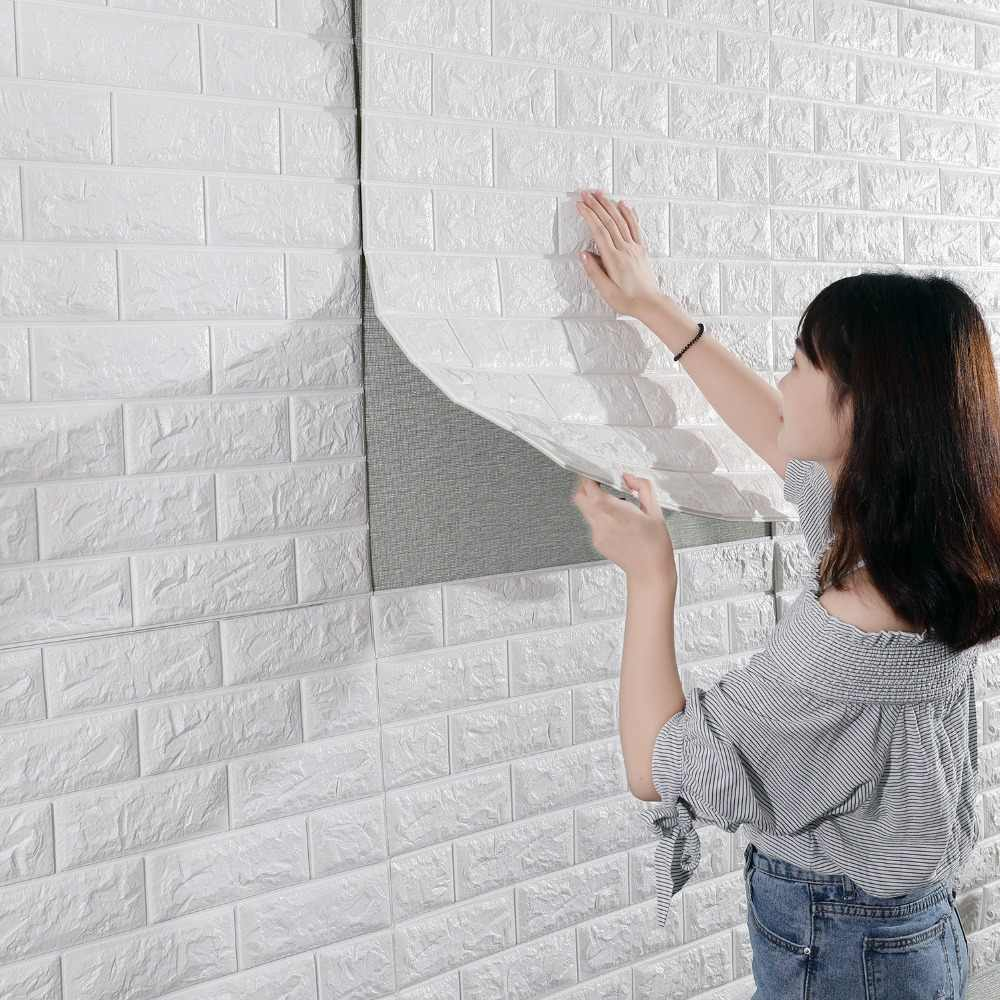 3D Brick Wall Stickers Living Waterproof Foam Room Bedroom DIY Adhesive Wallpaper Art 60*30*0.8 cm  home Wall Decals