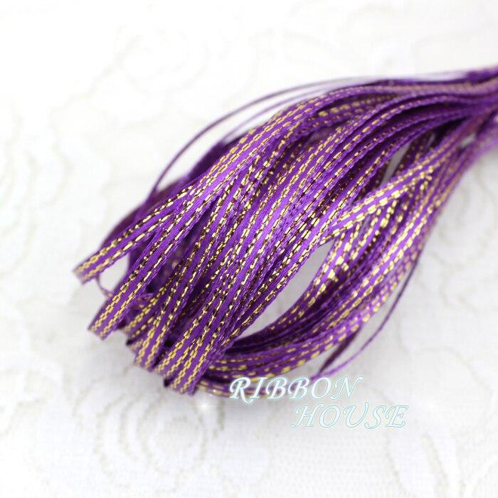 (20 м/лот) 1/8 »(3 мм) фиолетовый золотой край, атласные ленты оптовая продажа