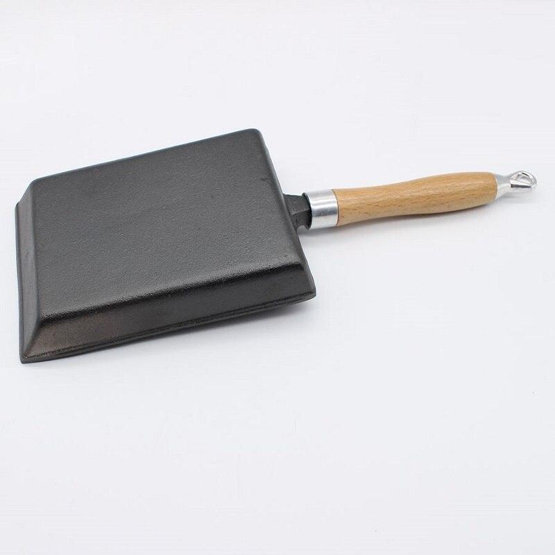 Fonte sans revêtement épaissi japonais oeuf rouleau poêle carrée poêle sans bâton