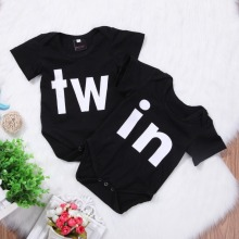 DERMSPE New Casual Newborn Baby Boy Girl Short Sleeve Letter Print Twin Brothers sisters Jumpsuit Romper Clothes Hot
