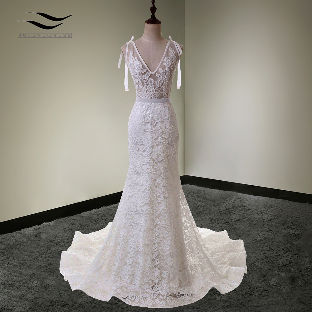 Lace Mermaid Wedding Gown With Straps: Long Train ! Elegant Spaghetti Strap Sexy Lace Wedding