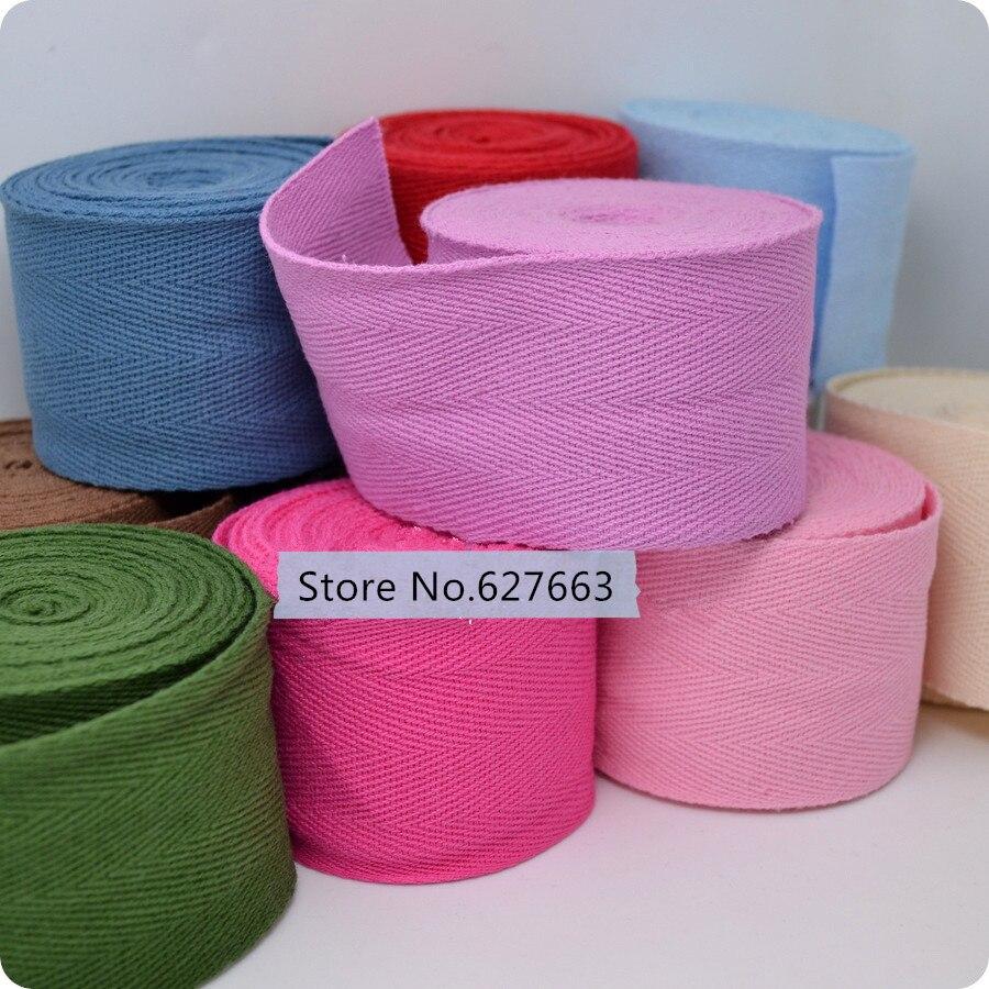 5cm natural,pink,rose red,yellow herringbone/twill cotton tape