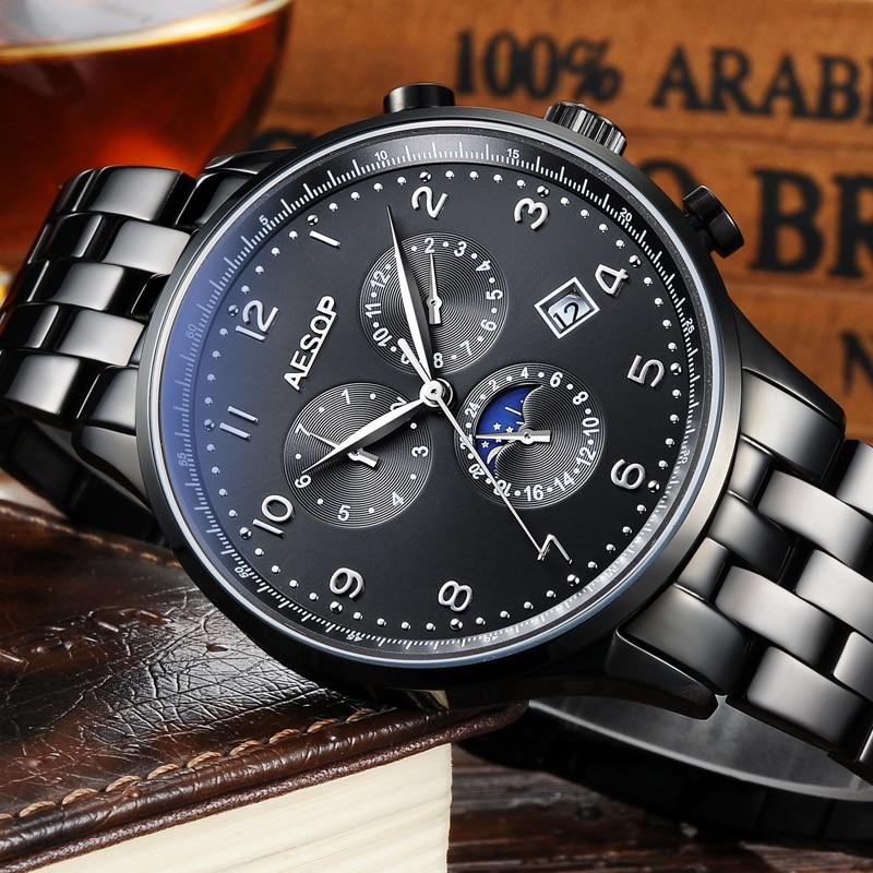 AESOP Watch Men Luxury Automatic Watch Stainless Steel Men's Mechanical Wrist Watch Waterproof Male Clock Men Relogio Masculino