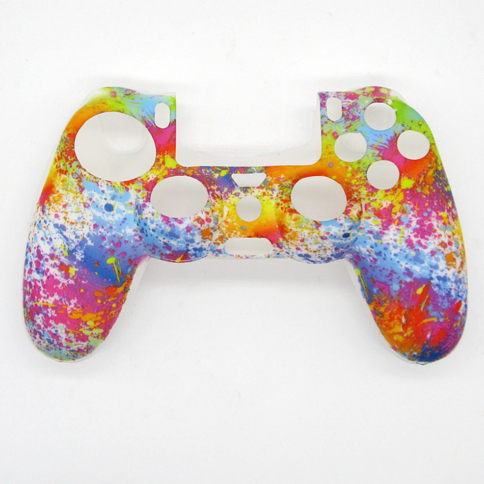 11 Colors Case for Sony for Playstation 4 PS4 Gamepad Silicone Protectice Cover Controller Protector Printing Flower Grips Caps