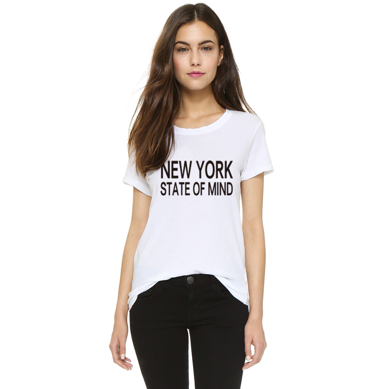 2016 H650 Summer Style Casual Women T shirts NEW YORK STATE OF MIND Printed Harajuku White T-shirt Plus Size Tees