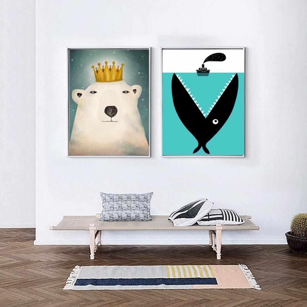 Minimalistischen Nordic Nette Polar Bear Cartoon Fisch Boot Meer Hai ...