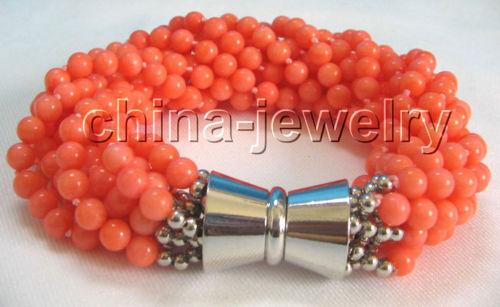 "10x10 jewerly free shipping >>Beautiful 8 "" 10row 5mm round dark pink coral bracelet - magnet GP clasp"