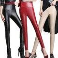 Plus Size S-4XL 2017 Nova Mulheres Sexy Inverno Quente Legging Couro Falso magro Cintura Alta Calças Lápis Calças Das Senhoras Doces cores