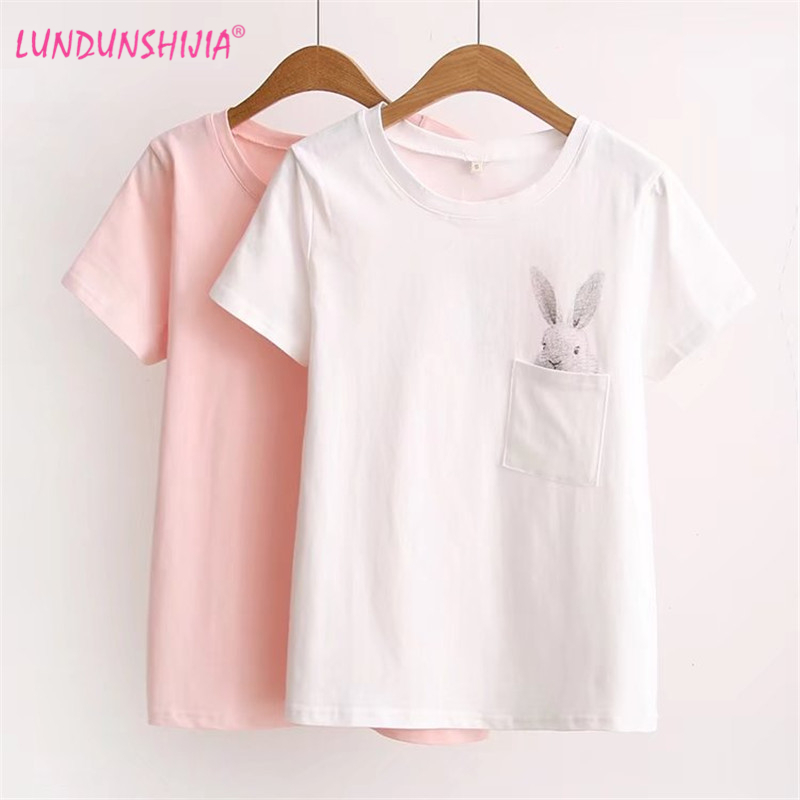LUNDUNSHIJIA 2017 Summer T shirt Women Lady Top Cotton ...