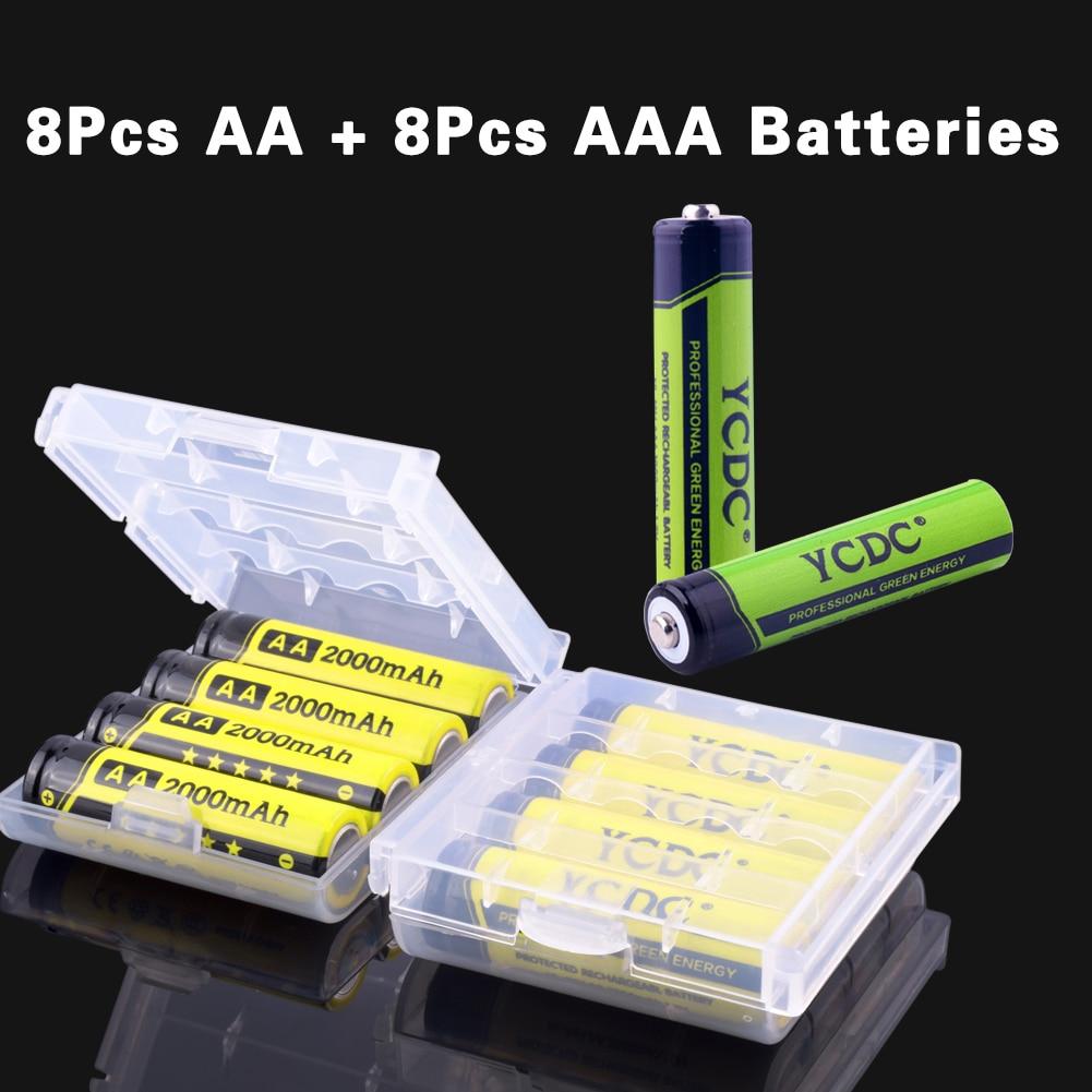 8Pcs 16Pcs*Cheap Ni-MH Battery 1.2V 1000/2000mAh Digital Device Battery AA AAA Rechargeable Battery Baterias For LED Flashlight