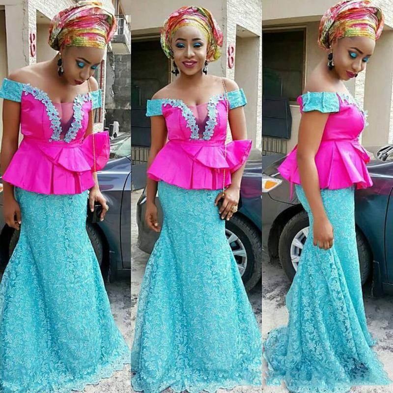 2019 South African Mermaid   Prom     Dresses   Long Off the Shoulder Sky Blue Lace Nigeria Evening   Dress   Aso Ebi Formal Party   Dress