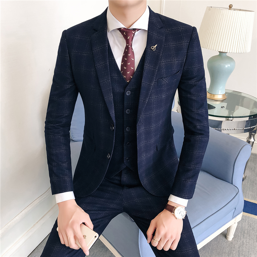 High-end-Männer Anzüge Wein Rot Navy Blau Mode Business Casual männer Karierten Anzug Jacken mit Weste mit hosen
