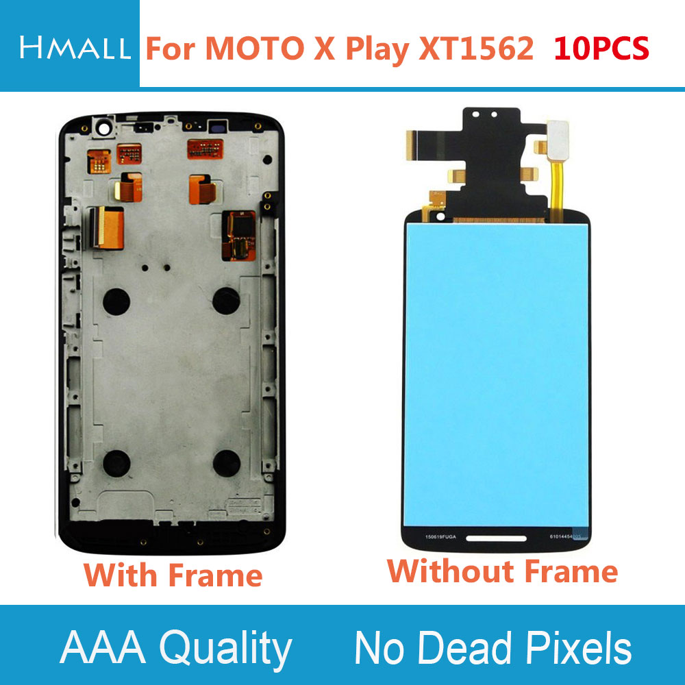 10 PCS LCD Display For Motorola Moto X Play LCD Screen Touch Screen with Digitizer with Frame Assembly Replacement Black/White lcd screen assembly for apple iphone 4 4g lcd display touch screen digitizer pantalla with frame bezel replacement black white