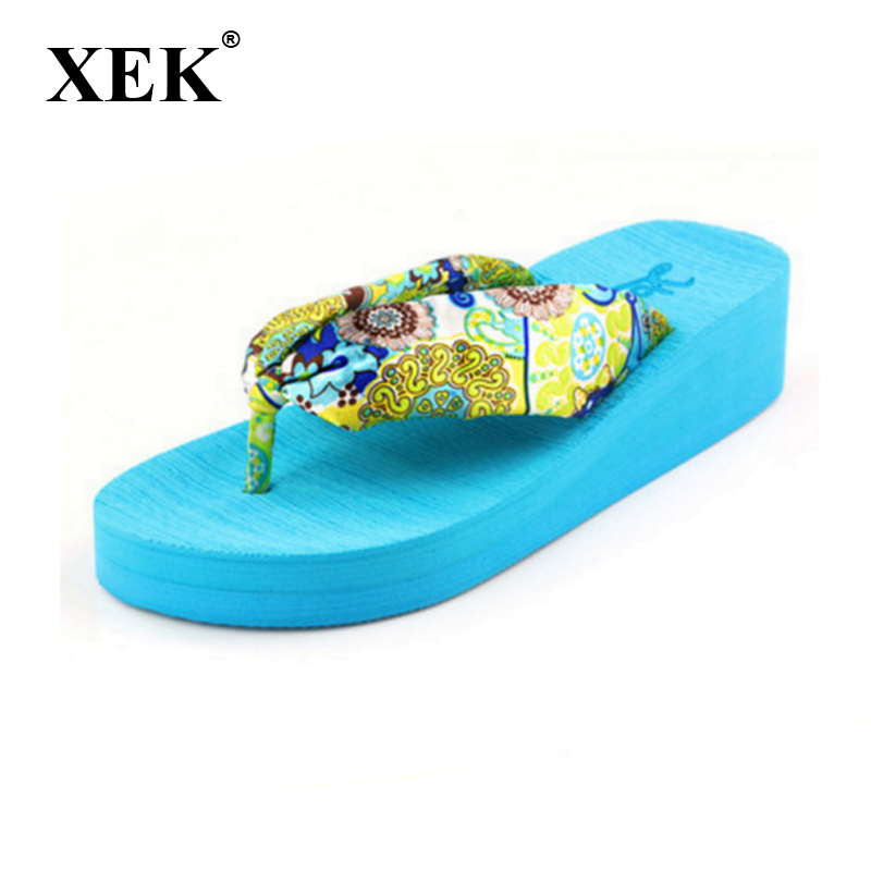 Women Slippers New 2017 Summer bohemia flower Women flip flops Platform Wedges Women Sandals slippers beach shoes size 35~39