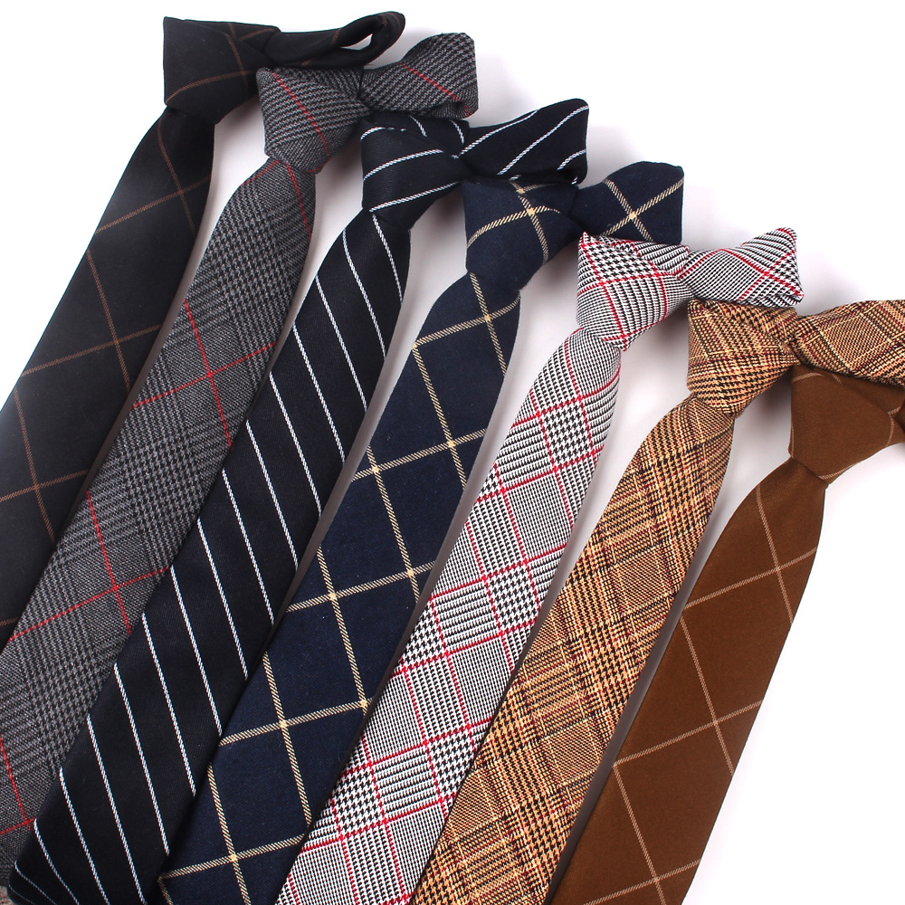 High Quality Fashion 100% Cotton Ties For Men Custom Made Brand Plaid Skinny Narrow Mens Neckties For Gift Neck Tie Cravat