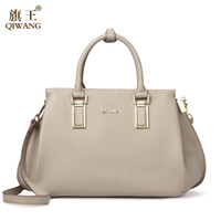 Qiwang Gray Genuine Leather Bag Elegant Birth Stylish Women Bag Designer Handbags Cross Body Tote Bag on Sales