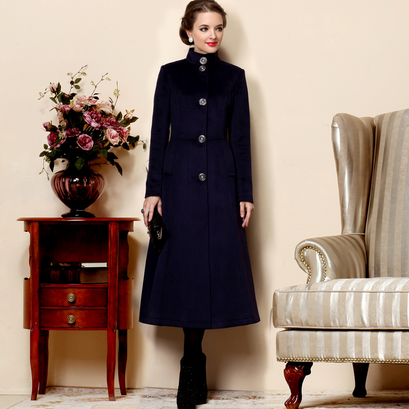 2017 Winter women long   trench   casual stand collar single breasted long design cashmere wool coat designer   trench   coats women