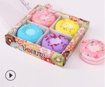 4 Colores Doughnut 24pcs/lot Natural Essential Oil Bath Salts OEM Bubble Moisturizing Explosive Bath Supplies Skin Care HA454
