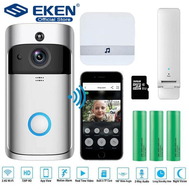EKEN V5 Video Chuông Cửa Thông Minh Không Dây WiFi An Ninh Chuông Cửa Thị Giác Ghi Nhà Máy Tầm Nhìn Ban Đêm Liên Lạc Nội Bộ cửa