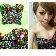 2016 Spring New Arrival Sexyqueen bling paillette diamond three-dimensional cup tube high costume