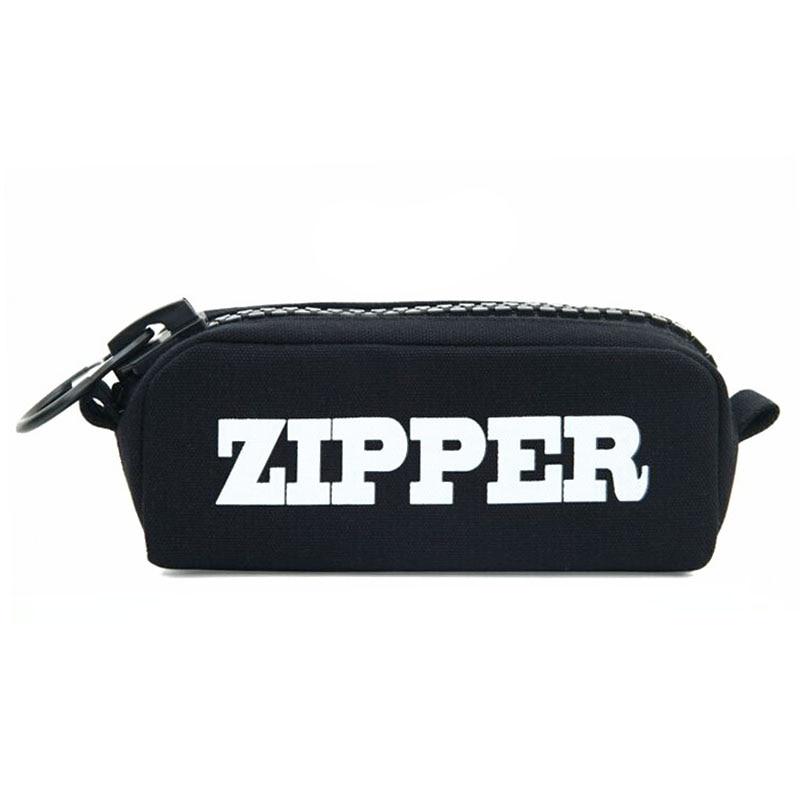 Big Zipper Pencil Bag Canvas Cases School Pencil Case Stationery Storage Bag Pencilcase School Supplies Office Supplies Black