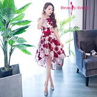 High school students prom gowns white with red flower short evening dress for high school graduation party short formal dresses