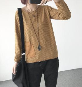 Image 2 - YoYiKamomo Camisa de algodón a rayas para mujer, blusa holgada de manga larga de algodón y bambú para primavera y verano, Color liso, 2018