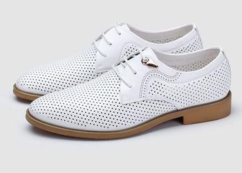 Dress Shoes Men Lace Up Genuine Leather Pointed Toes Smart Casual Height Increasing Shoes Cut-Outs Breathable Summer Moccasins