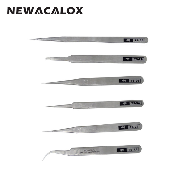 Repair Hand Tools Anti-static Anti-acid Precision Tweezers with Non-magnetic Tips for Electronics Jewelry-making 6pcs/set